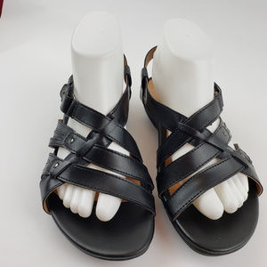 GH Bass Womens Black Leather Strappy Sandals